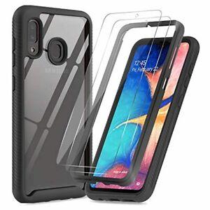 LeYi Coque Samsung Galaxy A20E avec [2 Packs] Verre Trempé,étui Transparente R