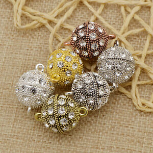 5-Pcs-Crystal-Rhinestone-Pave-Round-Ball-Magnetic-Clasp-Strong-Connector-Closure