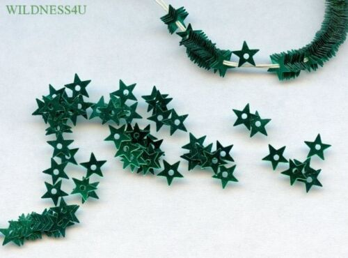 VINTAGE FRENCH SEQUINS Metallic TEAL EMERALD STARS Trim Spacers tiny Sew on Lot