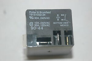 1x-Potter-amp-Brumfield-T91S1D22-24-SPST-24VDC-30A-PC-Mount-Terminals-Relay-Switch
