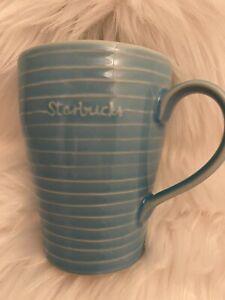 Starbucks Ceramic Blue Lined Coffee Mug  2009 Tall 12 fl oz - Hard to Find