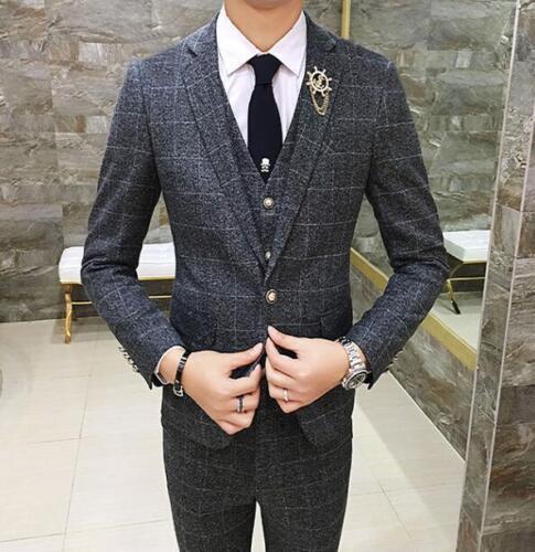 Wedding Mens Grid Blazer suits 3 Pcs Slim Fit Coat Vest Pants One Button Jacket