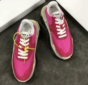 Details about Retro Men's Sneakers Red Hot Pink Suede Colors Design Increased Leisure Shoes