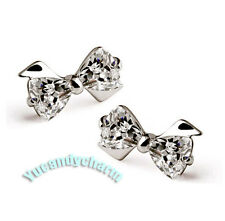 Made in Korea Heart GEM BOW LOVELY Shiny 925 Silver Earrings Studs SET, Cute!