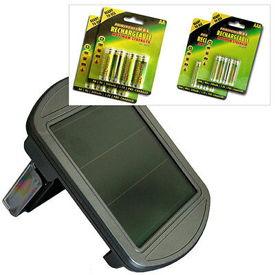 ECO  SOLAR BATTERY CHARGER + 16 AA / AAA NIMH RECHARGEABLE BATTERIES