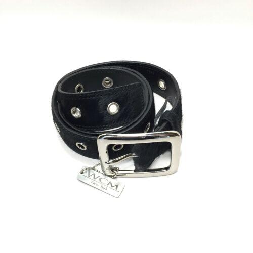 Women's WCM NY Black Leather Fur Grommet Belt Size
