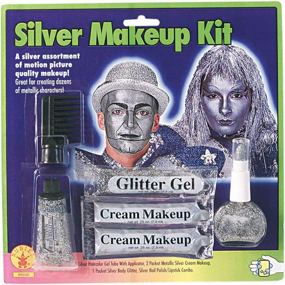 Metallic Silver Cream Makeup for Halloween
