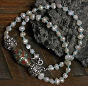 edle-Suesswasserperlen-Barock-Perlenkette-925-Silber-UNIKAT-Edelstein-Mosaikperle