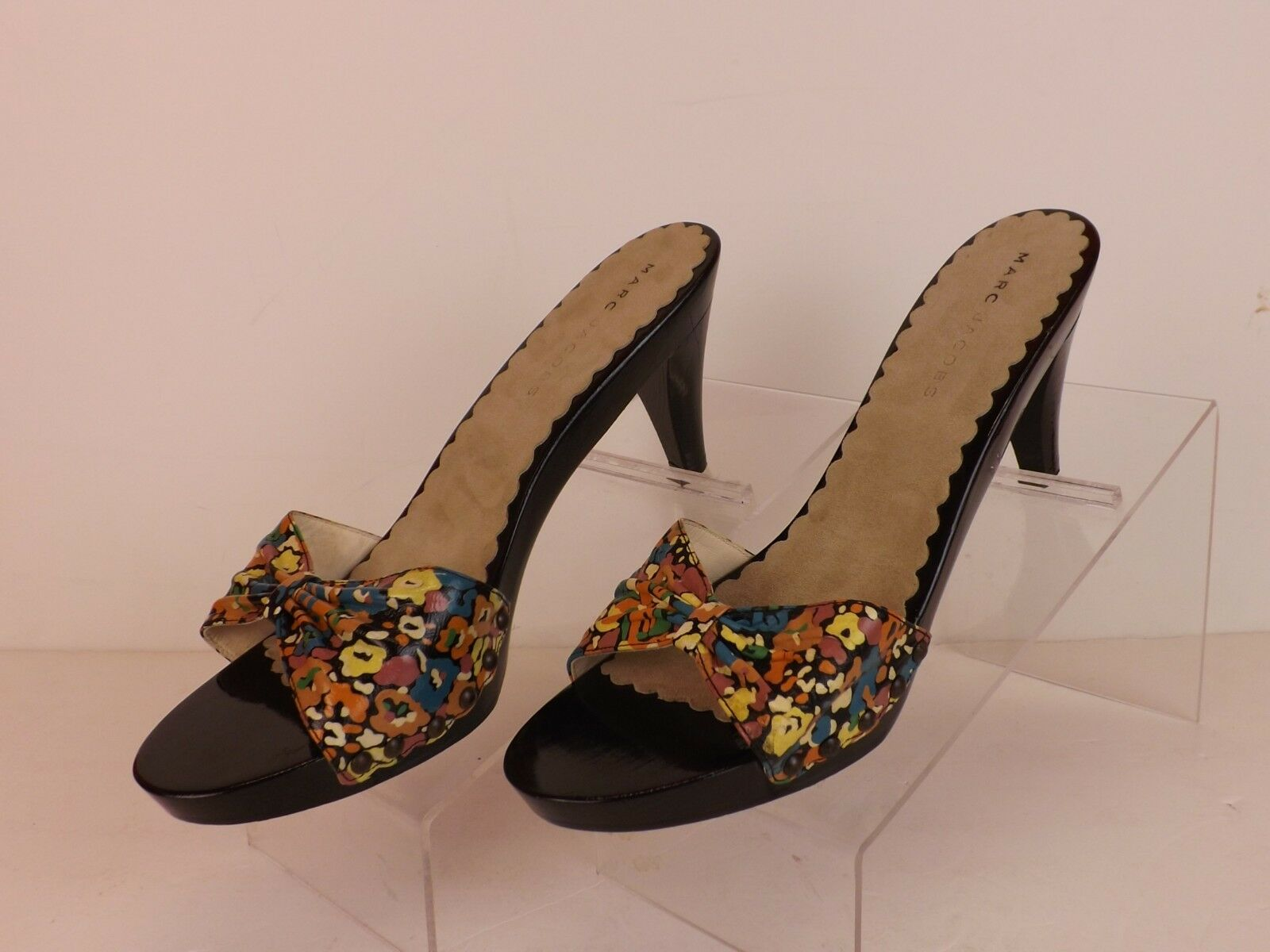 NEW MARC JACOBS MULTI-COLOR LEATHER OPEN TOE MULE PLATFORM SANDALS 37 ITALY