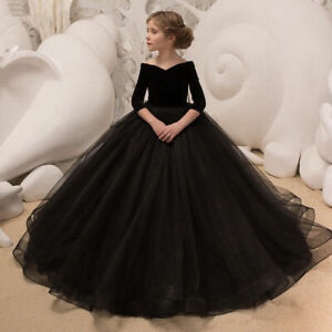 Details about Black Ball Gown Flower Girl Dresses Little Girls Party Dress  Black Pageant Gowns