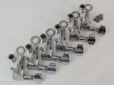 LEFT HANDED CHROME MACHINE HEADS 6 in LINE TUNERS for Strat or Tele Guitars