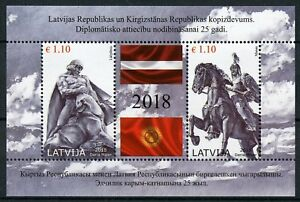 Latvia-2018-MNH-Diplomatic-Relations-JIS-Kyrgyzstan-2v-M-S-Flags-Statues-Stamps