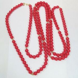 Vintage-signed-Monet-red-lucite-8-mm-beads-gold-tone-accents-54-034-long-necklace