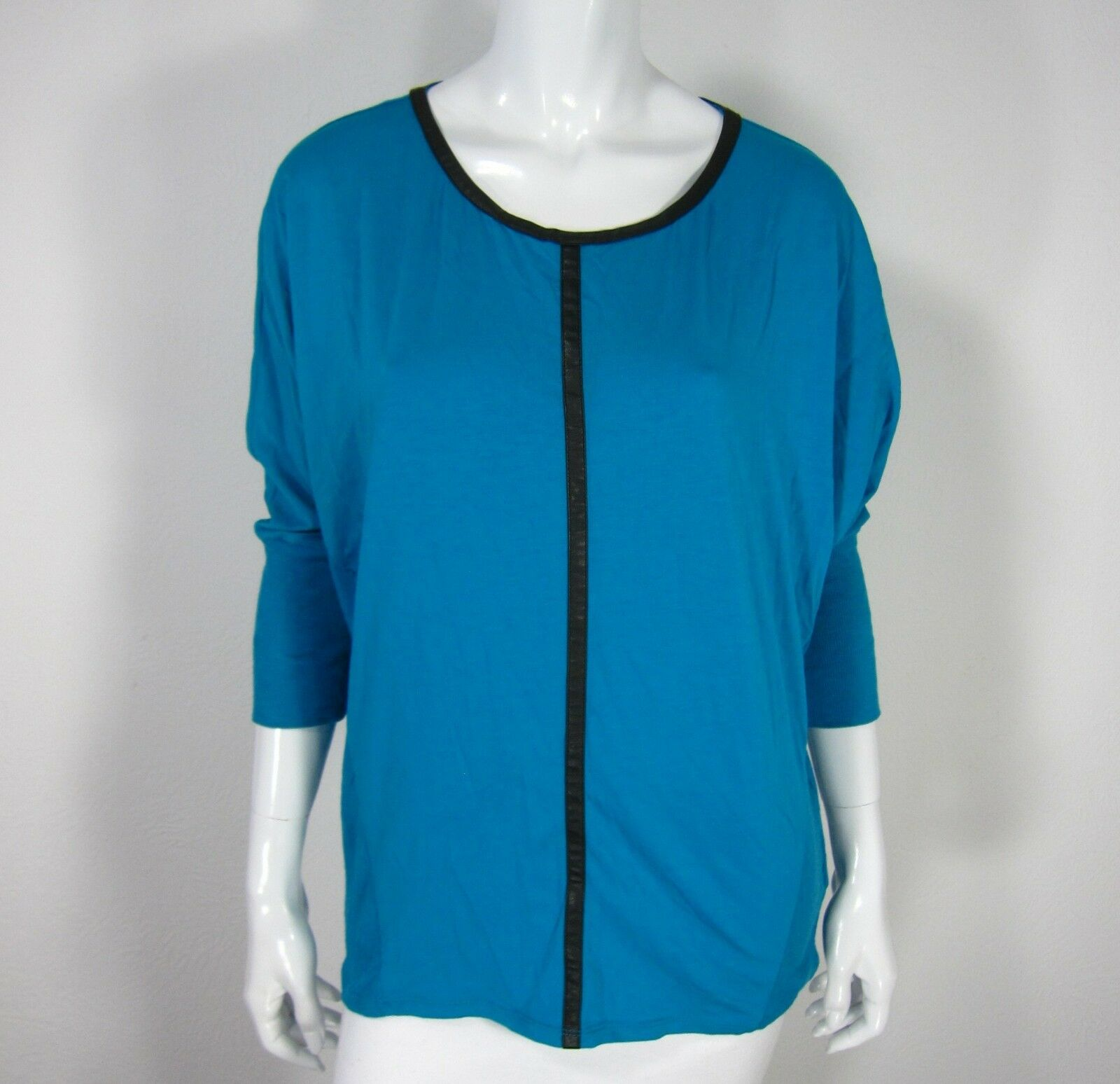 Two By Vince Camuto NWT Long Sleeve Blouse Größe L Large Solid Teal Crew neck