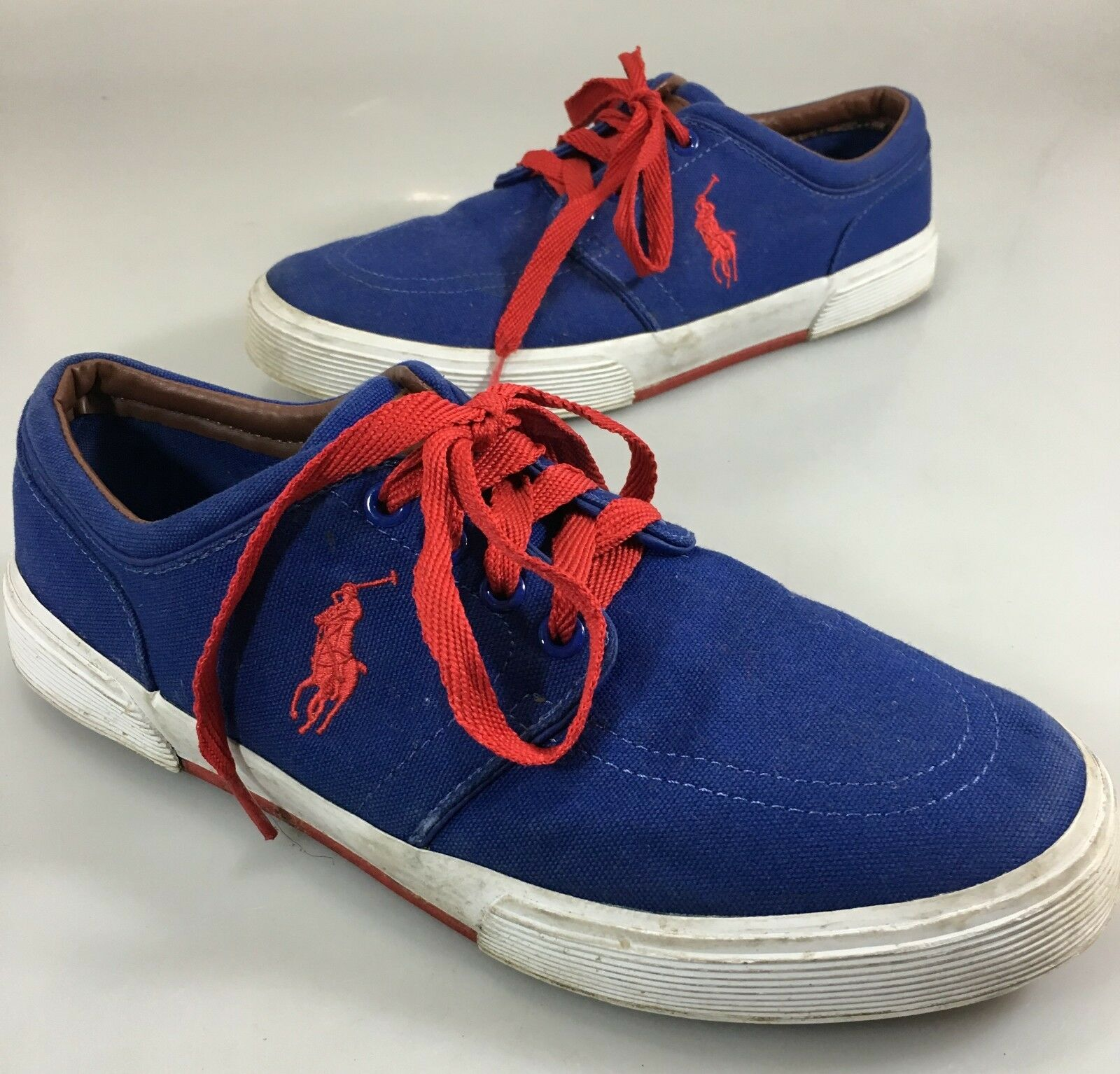 Polo Ralph Lauren Mens 9.5D Faxon bluee Canvas Red Laces Gym shoes Sneakers