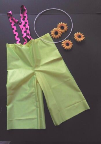 NWT CLOWN Pants Chartreuse Satinette dotted suspendars sunflower accents Unisex