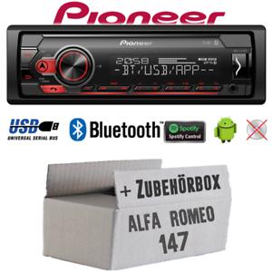 Pioneer autoradio para Alfa Romeo 147 plata Bluetooth Spotify USB Android set