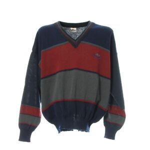 Herren-Pullover-Gr-L-Pullover-Sweater-Blockfarben-Langarm-V-Ausschnitt