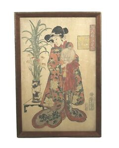 Antique-Japanese-Oil-Painting-of-Ukiyo-e-Woman-Signed