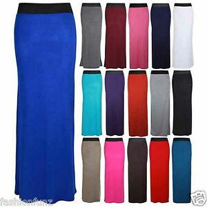 NEW-WOMENS-CONTRAST-ELASTIC-WAIST-STRAIGHT-WOMENS-LONG-MAXI-DRESS-SUMMER-SKIRT