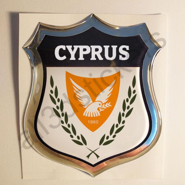 Sticker Cyprus Emblem Coat of Arms Shield 3D Resin Domed Gel Vinyl Decal Car
