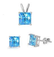 Princess Shape Blue Cz .925 Sterling Silver Earrings & Pendant Set on sale