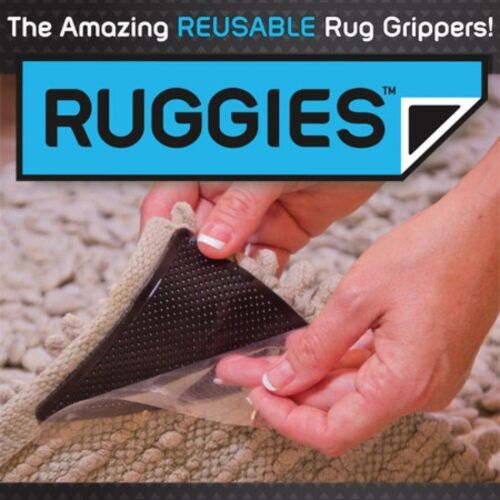 Rug Carpet Mat Grippers non Slip Grip Corners Pad Anti Skid Reusable Washable /_ UK