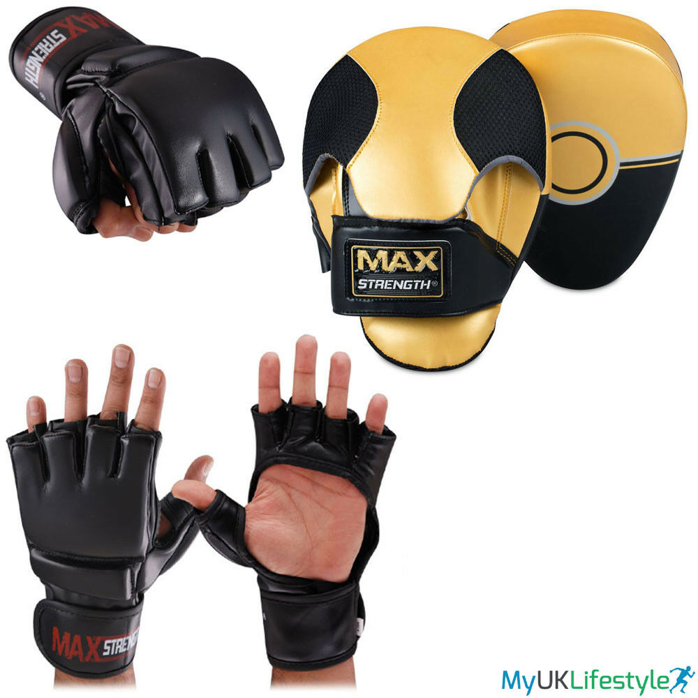 La metà dito PUNCH scatolaE Grappling Guanti Focus Pads formazione Set Kick MMA Lotta