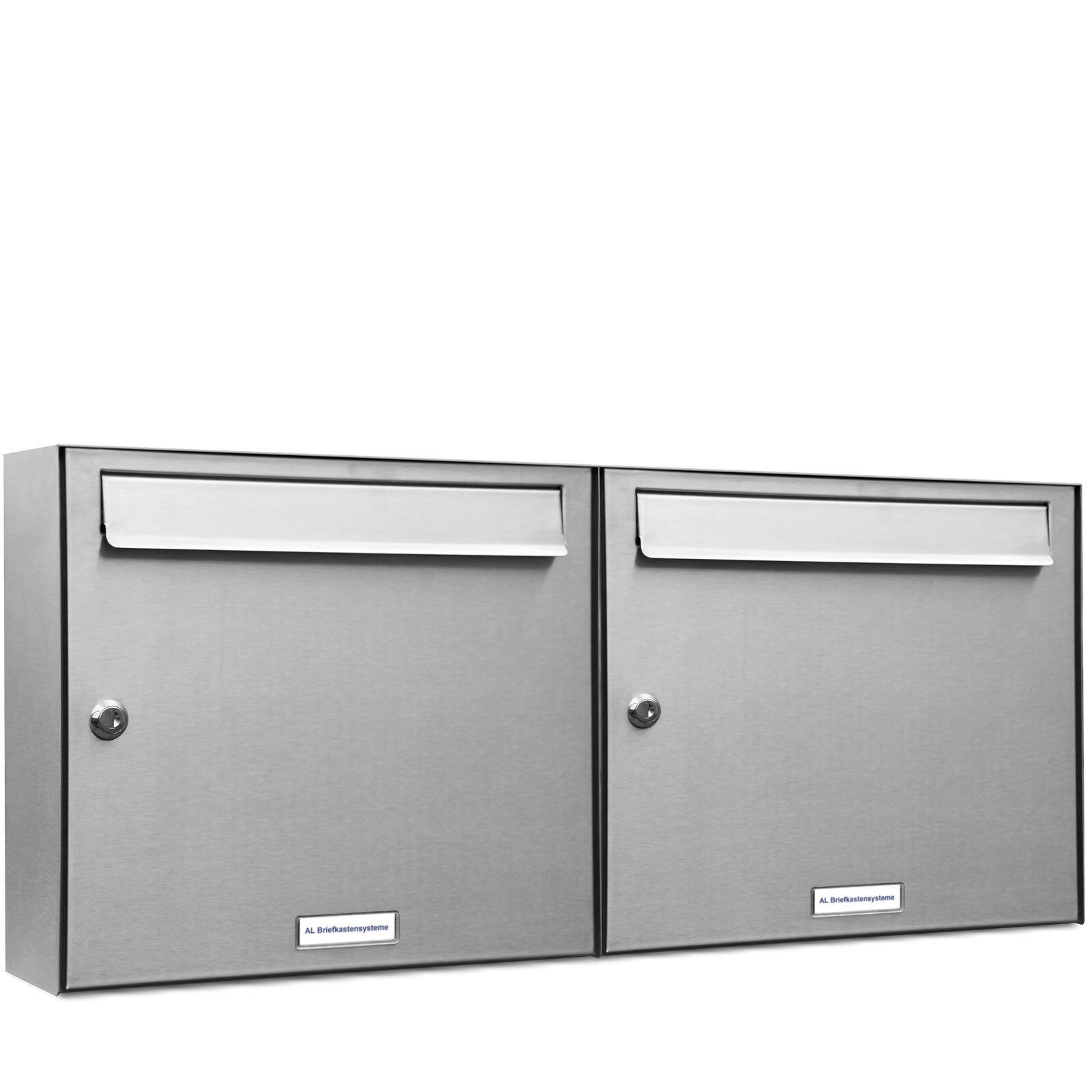 2 er Premium Edelstahl Wand Briefkasten Anlage A4 Postkasten Fach Anordng. 2x1