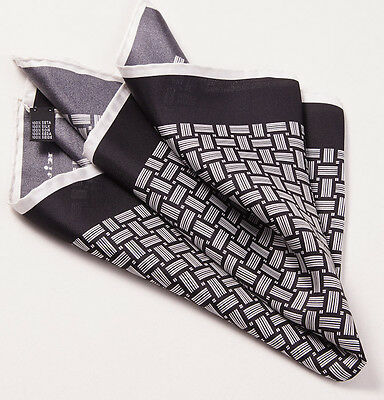New $215 KITON NAPOLI Black-White Basketweave Print Silk Pocket Square