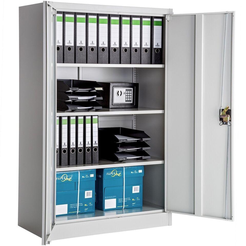 Låsbart arkivskab med 3 hylder grå