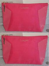 Lancome pink Cosmetic Makeup Bag Zipper Pouch case patent cotton set lot of 2