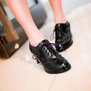 HOt-Women-039-s-Brogues-Casual-Shoes-Lace-Up-Court-Shoes-Pumps-Block-Heels-Oxfords