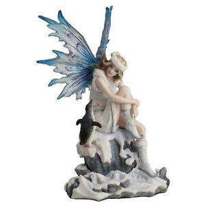 Snow-Fairy-with-Penguin-statue-figure-sculpture-home-decor-NEW
