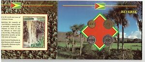 GUYANA-4-DIF-UNC-COINS-SET-1-25-CENTS-1990-92-YEARS-IN-MINT-PACK