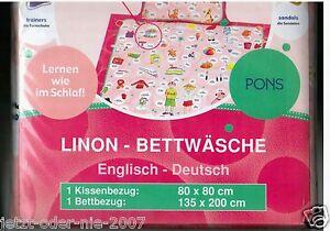 Bettwäsche Set Englisch Deutsch Lern Vokabel Linon Pons 135 X 200 Cm