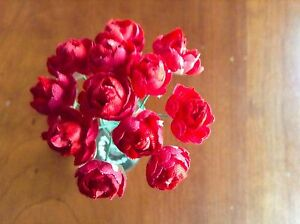 Vtg-Millinery-Flower-Rose-Bud-12p-Bunch-7-8-034-True-Red-for-Hat-Hair-Crown-UC