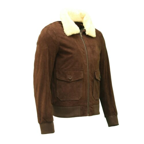 Men/'s en daim marron foncé en cuir col amovibles Aviateur BOMBER vintage Veste