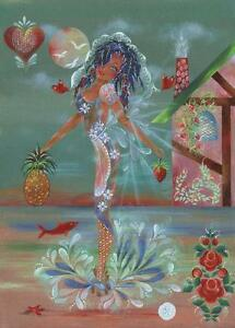 MERMAID PINEAPPLE RED ROSES GARDEN DOLPHIN COTTAGE ISLANDS HAWAII OCEAN PAINTING