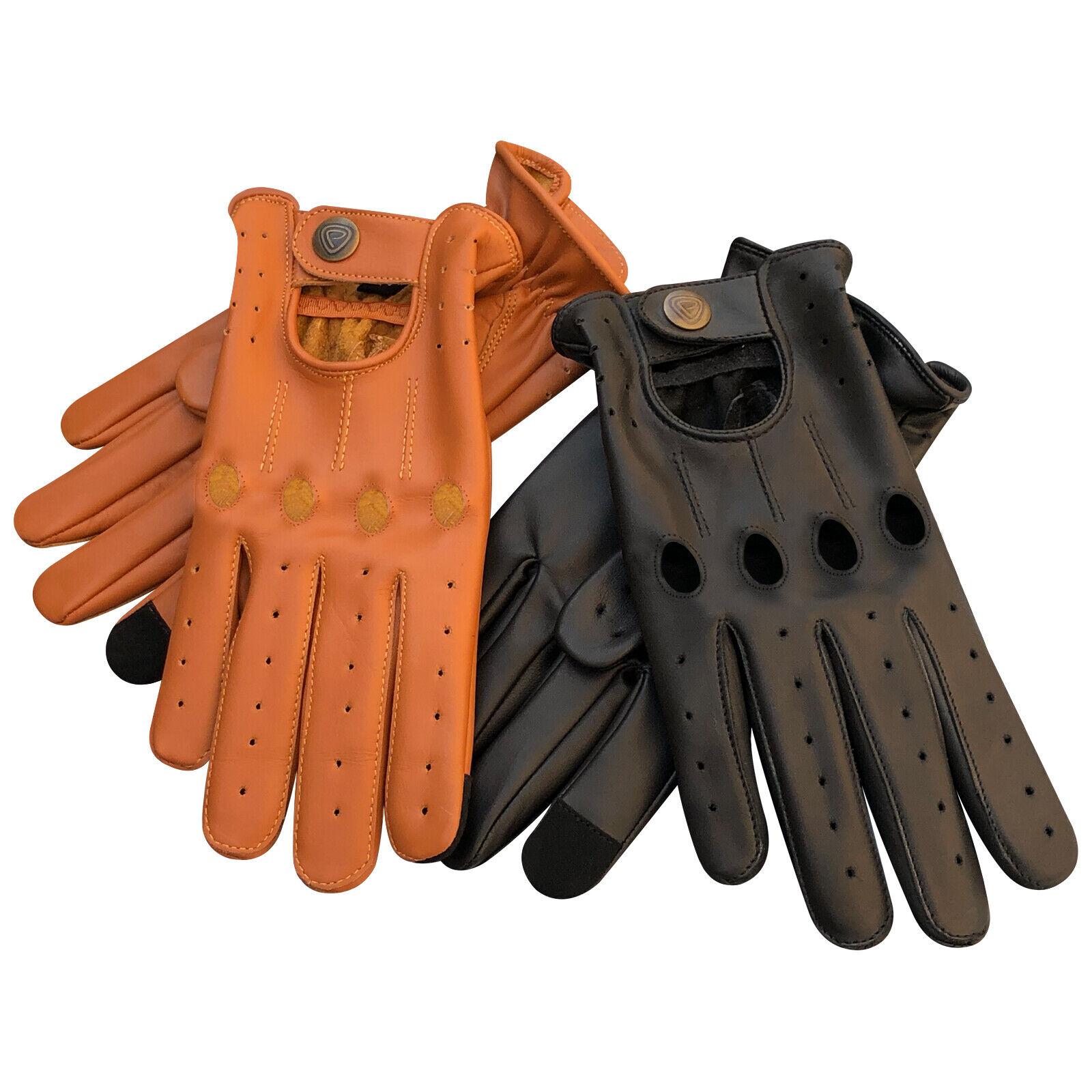New Men's genuine Lightweight Leather Driving Gloves-Touchscreen Full Finger 507