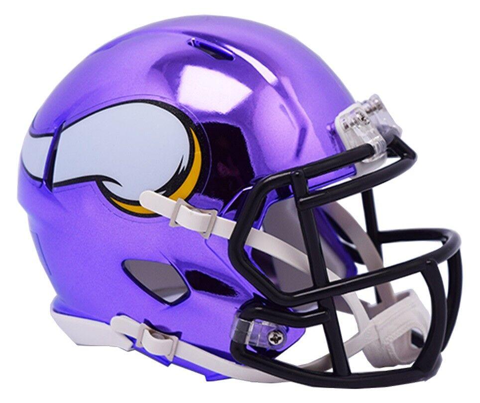 NFL FOOTBALL CASCO Minnesota Vikings MINI SPEED Chrome Football CASCO HELMET