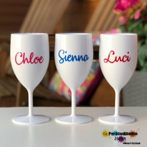 Personalised Birthdays,Party more colours too! Plastic Wine Proseco Glass Hen