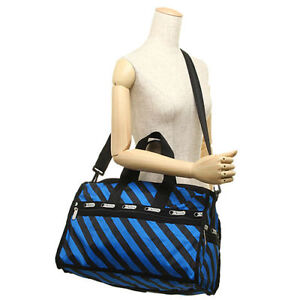 LeSportSac Med Weekender No Po ACE STRIPE Duffel Bag Black Blue NWOT