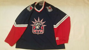 New-York-Rangers-jersey-mens-xl-blue-retro-Starter-Lady-Liberty-about-48chest