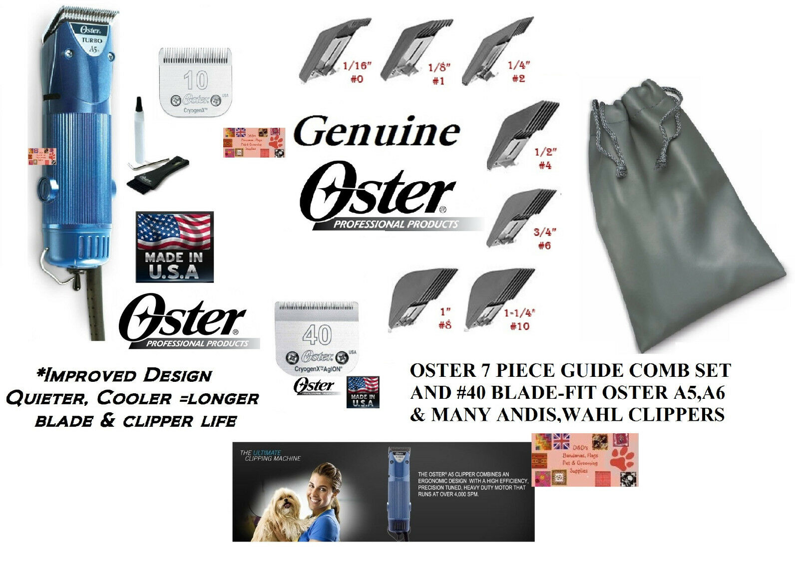 Oster A5 TURBO 2 Speed HEAVY DUTY CLIPPER SET Cryogen-X 10 BLADE&7pc GUIDE COMBS