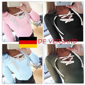 DE-Damen-Freizeit-Bodycon-Riemchen-Mode-Langarm-Herbst-Blusen-Oberteil-Top-Pulli