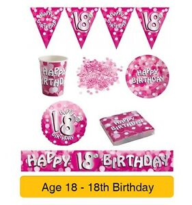 AGE-18-18th-Birthday-PINK-SPARKLE-Birthday-Party-Range-Tableware-Banners-Decs