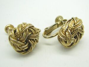 7f674a161 Vintage GOLD TONE NAPIER Multi-Strand KNOT SCREW/CLIP-ON EARRINGS ...