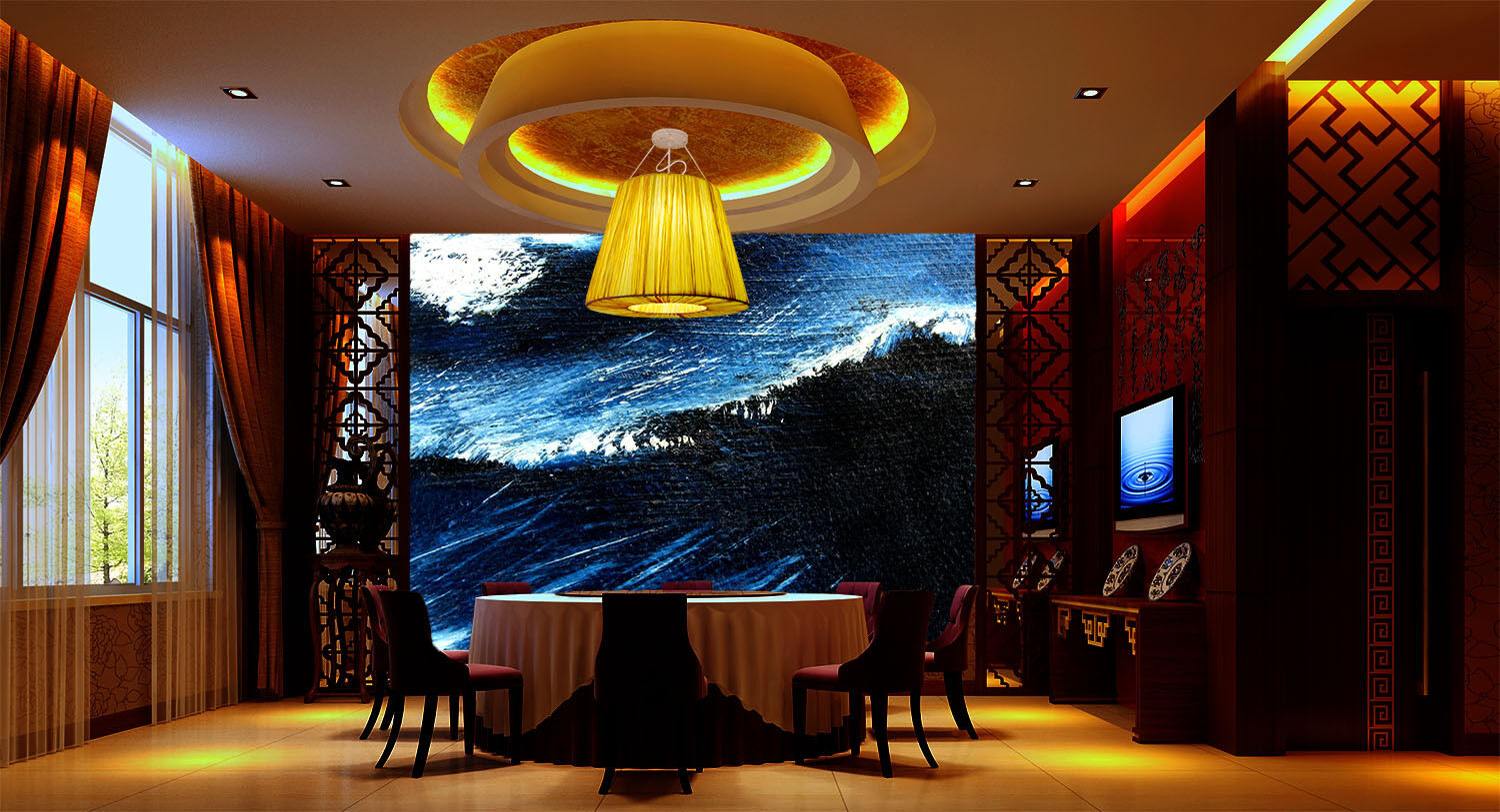 3D bluee Waves Paper Wall Print Wall Decal Wall Deco Indoor Murals