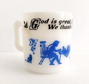Vintage-Hazel-Atlas-Coffee-Mug-Blue-Black-God-is-Great-Replacement-Glass-MCM